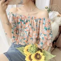 Off Shoulder Printed Floral Summer Blouse Top - Multicolor