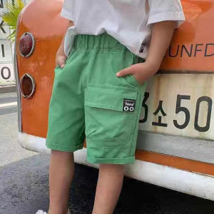 Elastic Waist Casual Wear Solid Color Bottom Shorts - Green