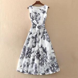 Round Neck Floral Printed Sleeveless Mini Dress - White