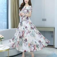 Round Neck Short Sleeves Full Length Midi Dress - White