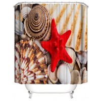 Red Starfish Design Shower Curtain With 12 Hooks