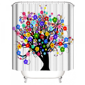 Tree With Floral Design Shower Curtain With 12 Hooks
