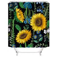 Sunflower Design Shower Curtain With 12 Hooks