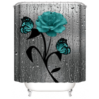 Blue Floral Design Shower Curtain With 12 Hooks