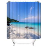 White Beach Design Shower Curtain With 12 Hooks