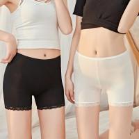 Lace Patched Elastic Waist Women Boxer Underwear - Black
