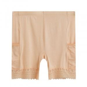 Slim Fit Solid Color High Waist Underwear - Skin