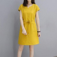 Notched Neck Short Sleeves Casual Mini Dress - Yellow