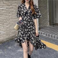 V Neck Short Sleeves Floral Printed Irregular Summer Dress - Black