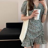 V Neck Short Sleeves Ruffled Hem Mini Dress - Green