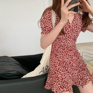 V Neck Short Sleeves Ruffled Hem Mini Dress - Red