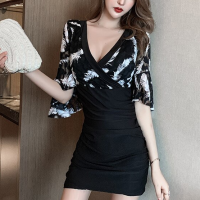 Half Sleeves V Neck Bodycon Dress - Black