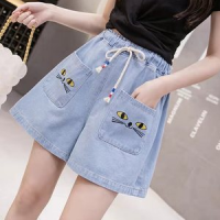 Elastic Waist Casual Wear Denim Shorts - Blue