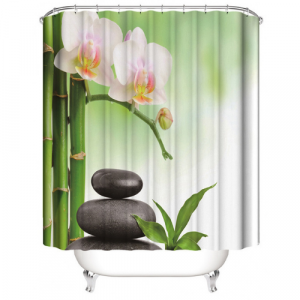 Orchid Design Shower Curtain With 12 Hooks