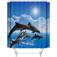 Dolphins Design Shower Curtain with 12 Hooks