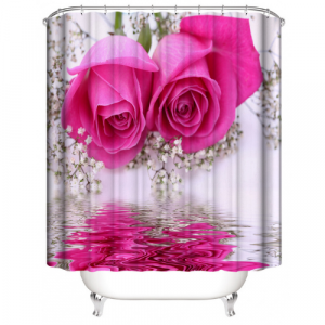 Pink Rose Design Shower Curtain With 12 Hooks