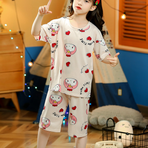 Round Neck Two Pieces Cartoons Printed Suit - Multicolor