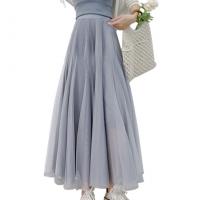 A-Line Solid Summer Fashion Women Wear Skirt - Gray