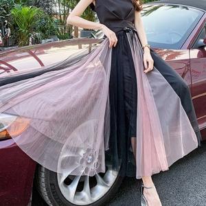 A-Line Contrast Summer Fashion Women Wear Skirt - Pink