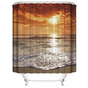 Seashore Design Shower Curtain With 12 Hooks