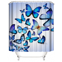 Butterfly Design Shower Curtain With 12 Hooks