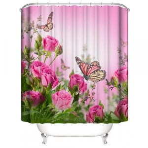 Pink Butterfly Design Shower Curtain With 12 Hooks