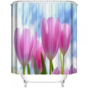 Tulip Design Shower Curtain With 12 Hooks