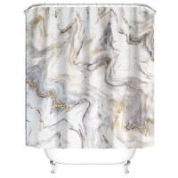 Marble Design Printed Easy Installation Hooked Shower Curtain