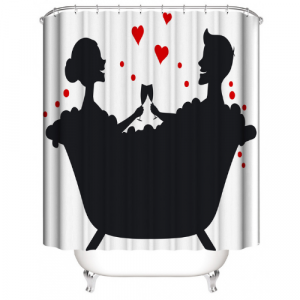Couple Design Printed Easy Installation Hooked Shower Curtain