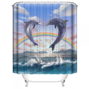 Dolphin With Rainbow Design Printed Easy Installation Hooked Shower Curtain