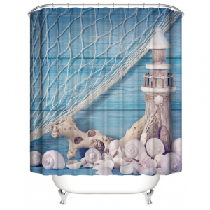 Light House Design Printed Easy Installation Hooked Shower Curtain