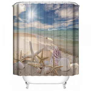 Sea Shells Design Printed Easy Installation Hooked Shower Curtain