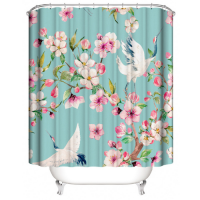 Flamingo Design Printed Easy Installation Hooked Shower Curtain