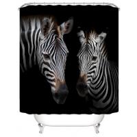 Zebra Design Printed Easy Installation Hooked Shower Curtain
