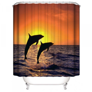 Sunset With Dolphin Design Printed Easy Installation Hooked Shower Curtain