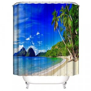 Palm Design Printed Easy Installation Hooked Shower Curtain