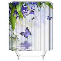 Butterfly Design Printed Easy Installation Hooked Shower Curtain
