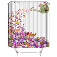 Floral Design Printed Easy Installation Hooked Shower Curtain