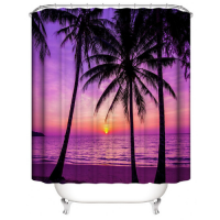 Sunset Design Printed Easy Installation Hooked Shower Curtain