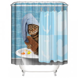 Cute Cat Design Printed Easy Installation Hooked Shower Curtain