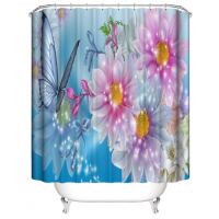 Butterfly With Floral Design Printed Easy Installation Hooked Shower Curtain