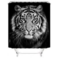 Black Tiger Design Printed Easy Installation Hooked Shower Curtain