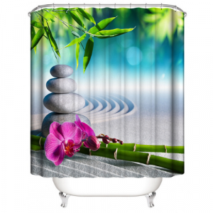 Stone Design Printed Easy Installation Hooked Shower Curtain