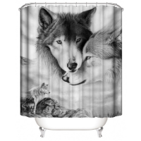 Wolf Design Printed Easy Installation Hooked Shower Curtain
