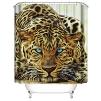Tiger Design Printed Easy Installation Hooked Shower Curtain
