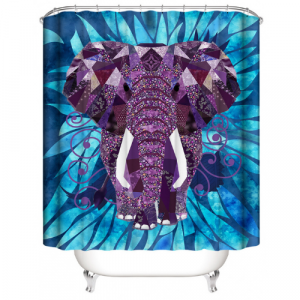 Elephant Design Printed Easy Installation Hooked Shower Curtain