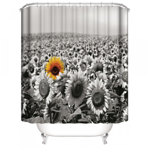 Black and White Sunflower Design Shower Curtain With 12 Hooks