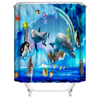 Fishes Design Printed Easy Installation Hooked Shower Curtain