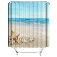Sea Shell Design Printed Easy Installation Hooked Shower Curtain