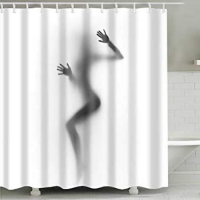 Lady Design Printed Easy Installation Hooked Shower Curtain
